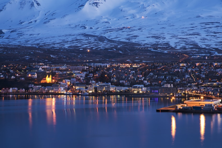 Akureyri, Iceland seen from the water