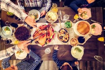 overhead view of family enjoying turkey dinner