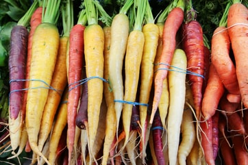 purple, yellow, and orange carrots