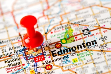 map of Edmonton with red pin