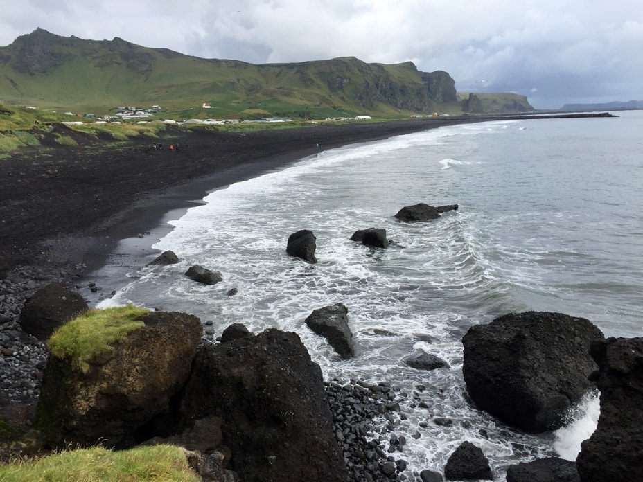 View of the ocean and Vik's black sand beach