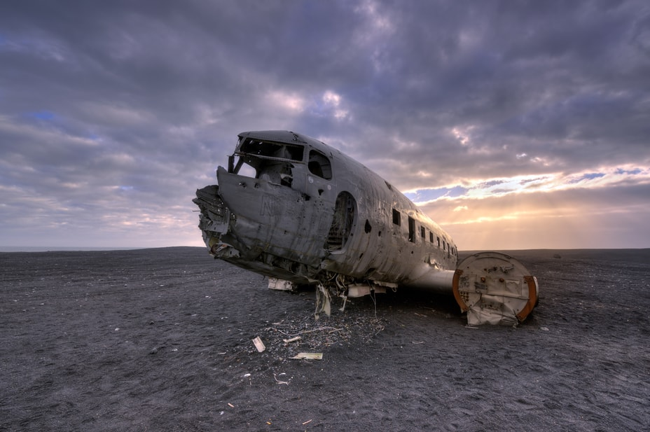 Decades-old wreckage of an airplane