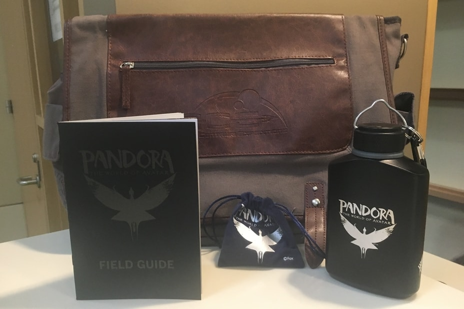 Bag, book, and water bottle from Pandora - The World of Avatar