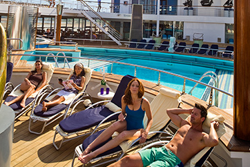 poolside experience tanning on cruise ship