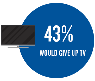 43% would give up TV