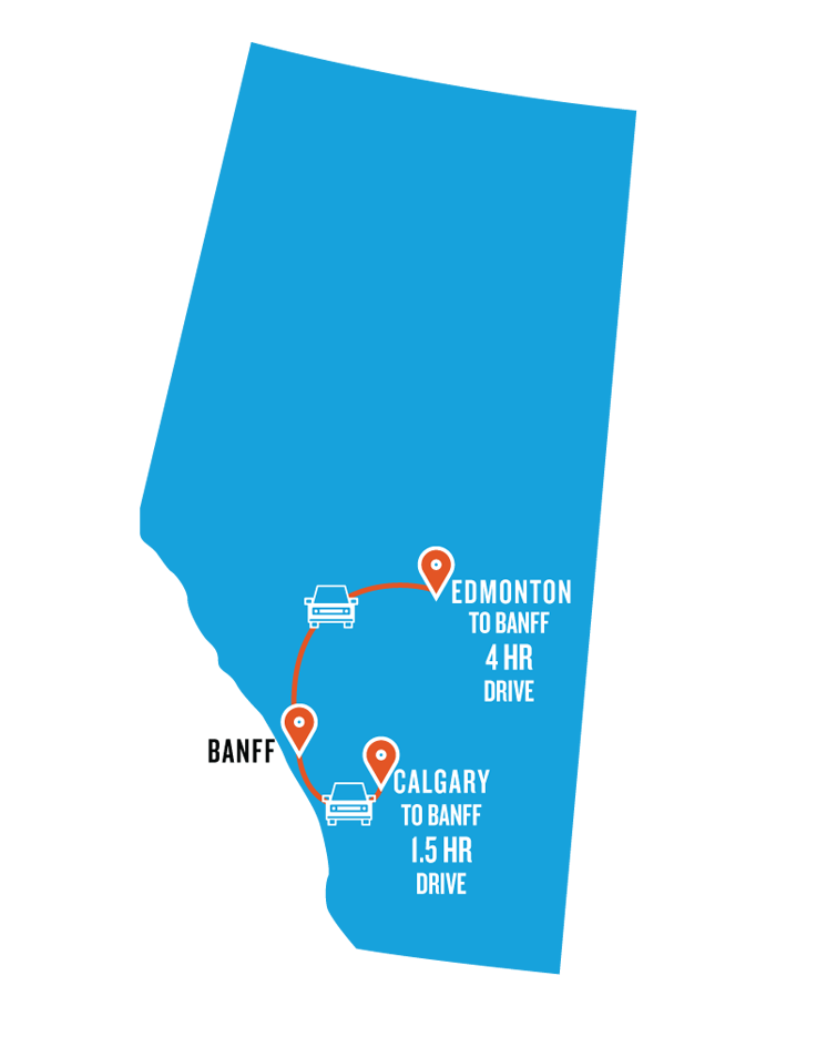 driving times to Banff from Edmonton and Calgary